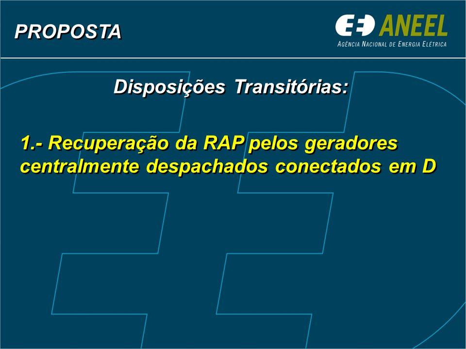 PROPOSTA Disposições Transitórias: 1.- Recuperação da RAP pelos geradores centralmente despachados conectados em D.
