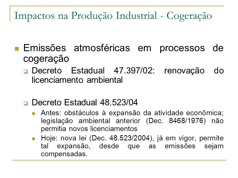 Impactos na Produção Industrial - Cogeração