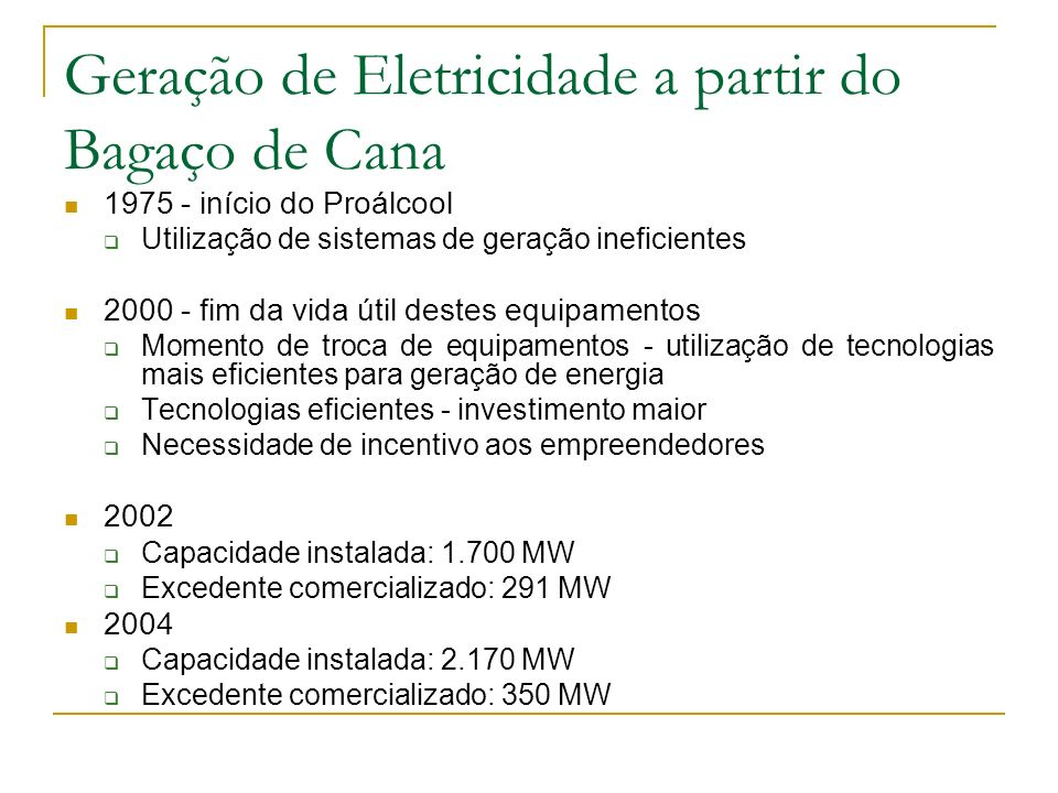 Geração de Eletricidade a partir do Bagaço de Cana