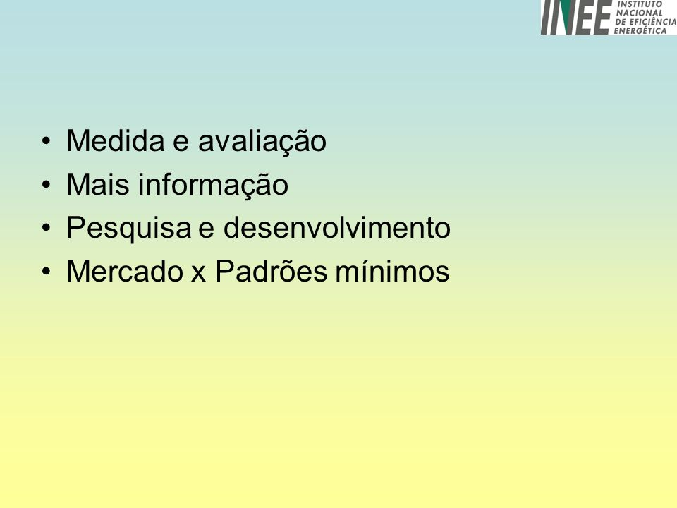 Medida e avaliação Mais informação Pesquisa e desenvolvimento Mercado x Padrões mínimos