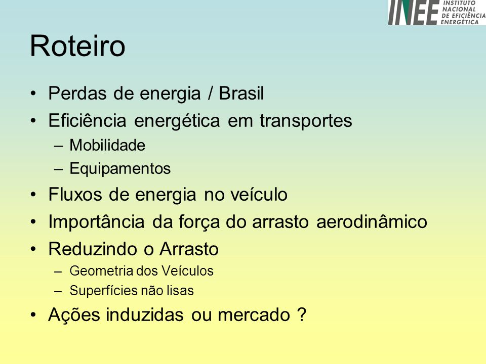 Roteiro Perdas de energia / Brasil