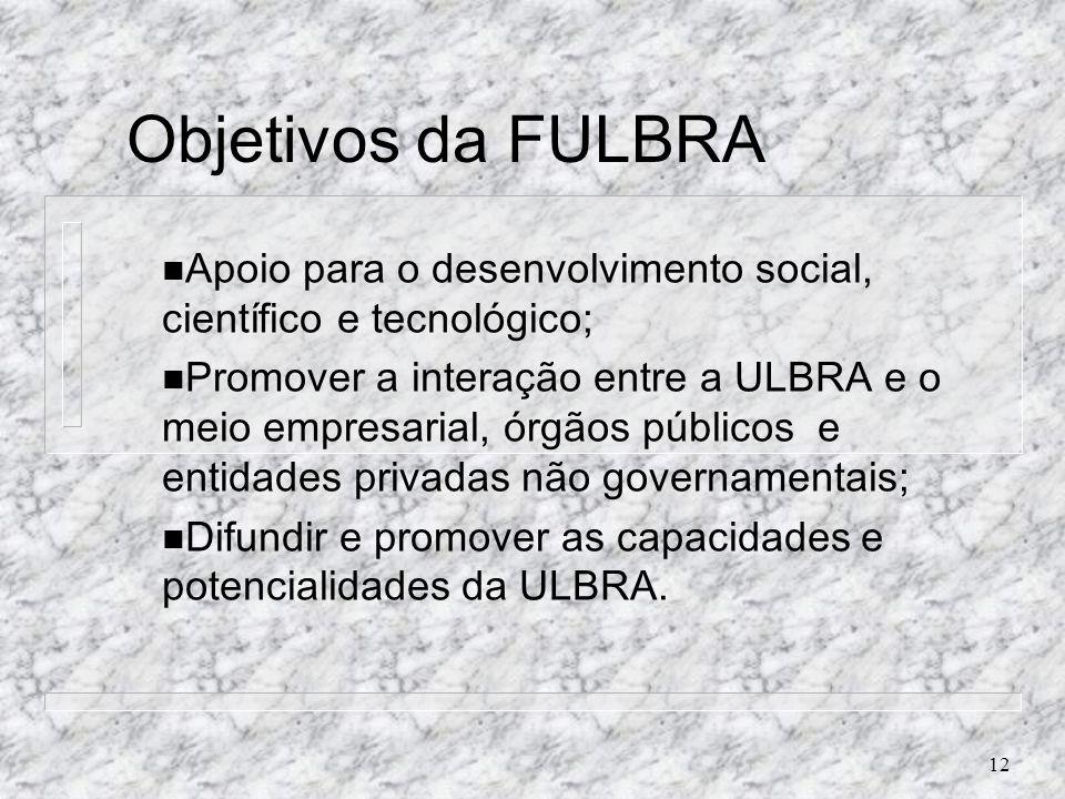 Objetivos da FULBRAApoio para o desenvolvimento social, científico e tecnológico;