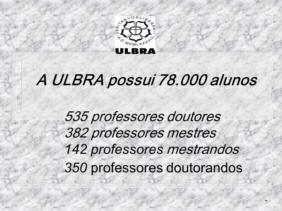 A ULBRA possui 78. 000 alunos. 535 professores doutores