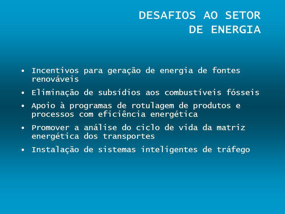 DESAFIOS AO SETOR DE ENERGIA