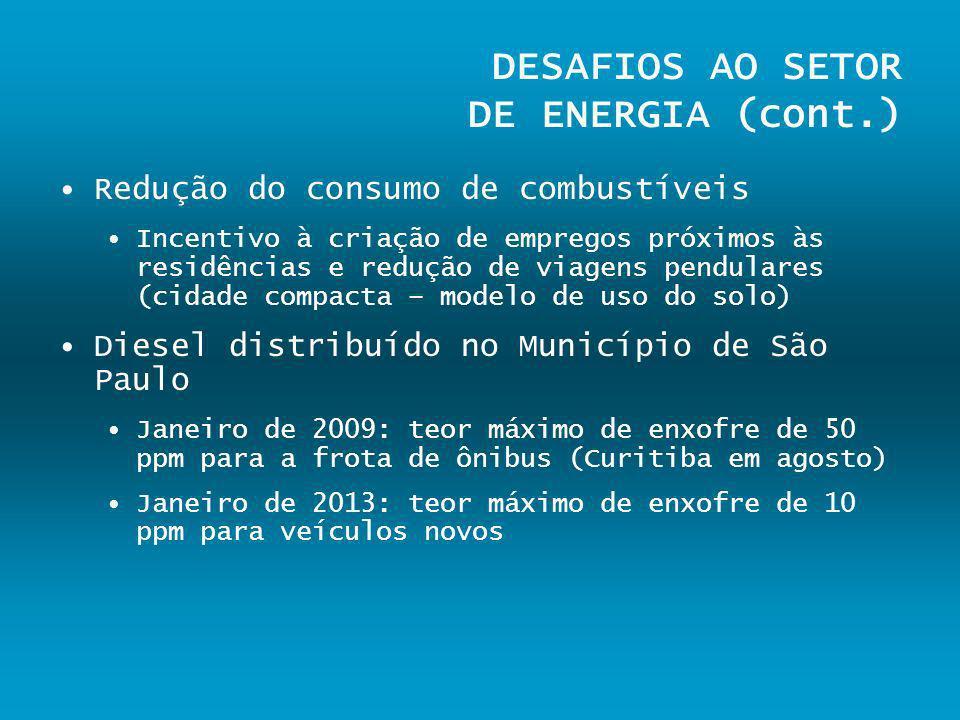 DESAFIOS AO SETOR DE ENERGIA (cont.)