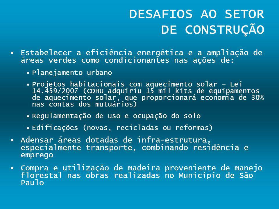DESAFIOS AO SETOR DE CONSTRUÇÃO