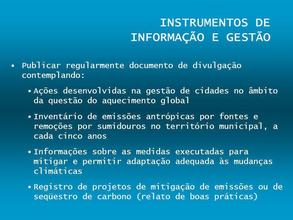 INSTRUMENTOS DE INFORMAÇÃO E GESTÃO