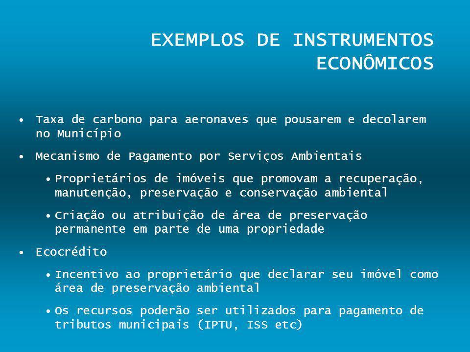 EXEMPLOS DE INSTRUMENTOS ECONÔMICOS