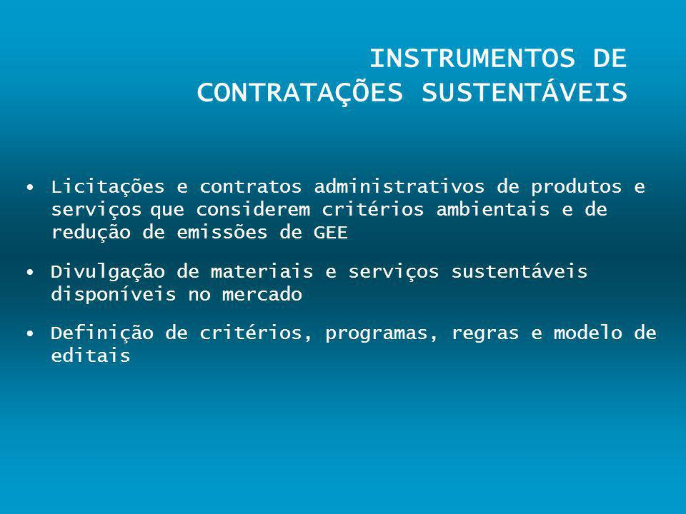 INSTRUMENTOS DE CONTRATAÇÕES SUSTENTÁVEIS