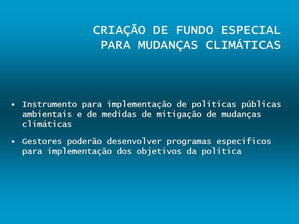 CRIAÇÃO DE FUNDO ESPECIAL PARA MUDANÇAS CLIMÁTICAS