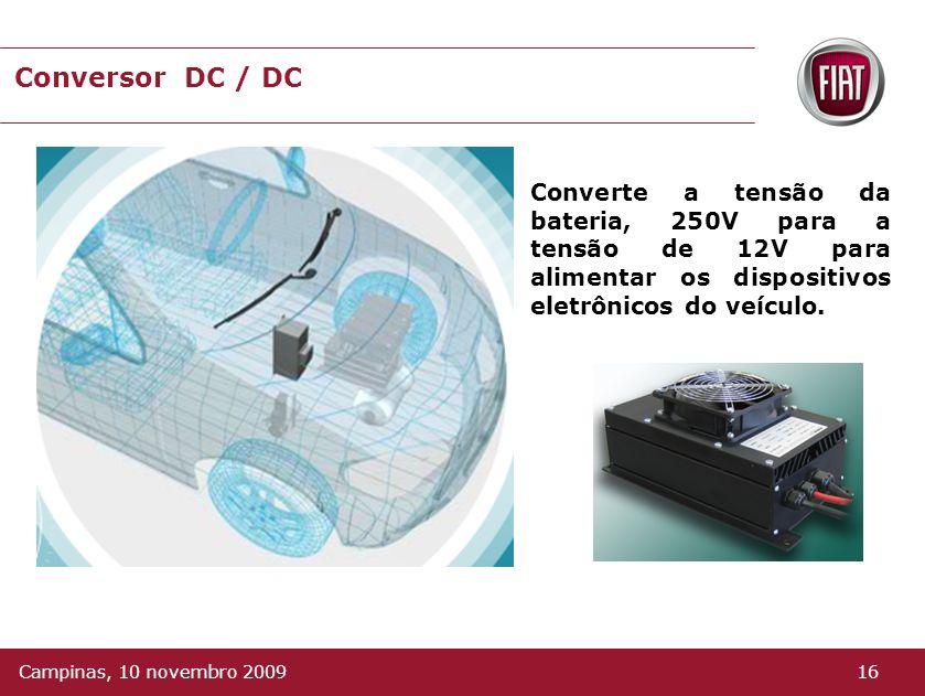 Conversor DC / DC Converte a tensão da bateria, 250V para a tensão de 12V para alimentar os dispositivos eletrônicos do veículo.