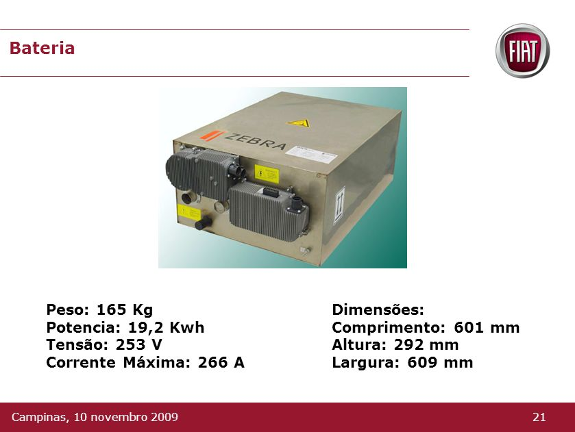 Bateria Peso: 165 Kg Potencia: 19,2 Kwh Tensão: 253 V