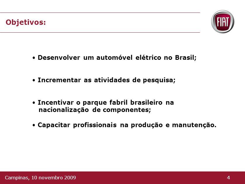 Objetivos: Desenvolver um automóvel elétrico no Brasil;