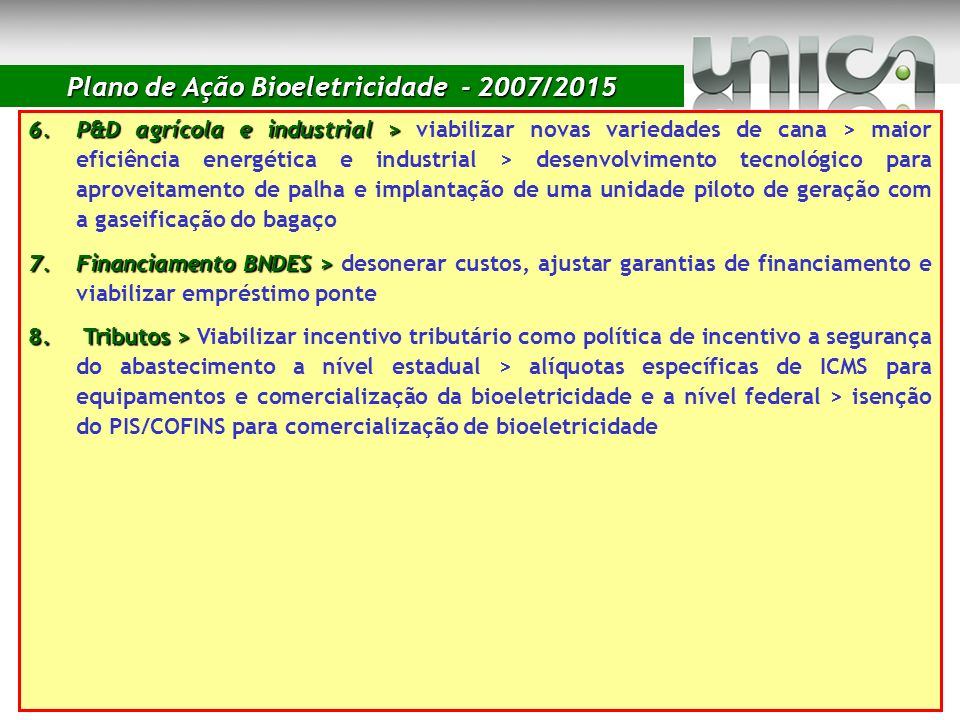 Plano de Ação Bioeletricidade - 2007/2015