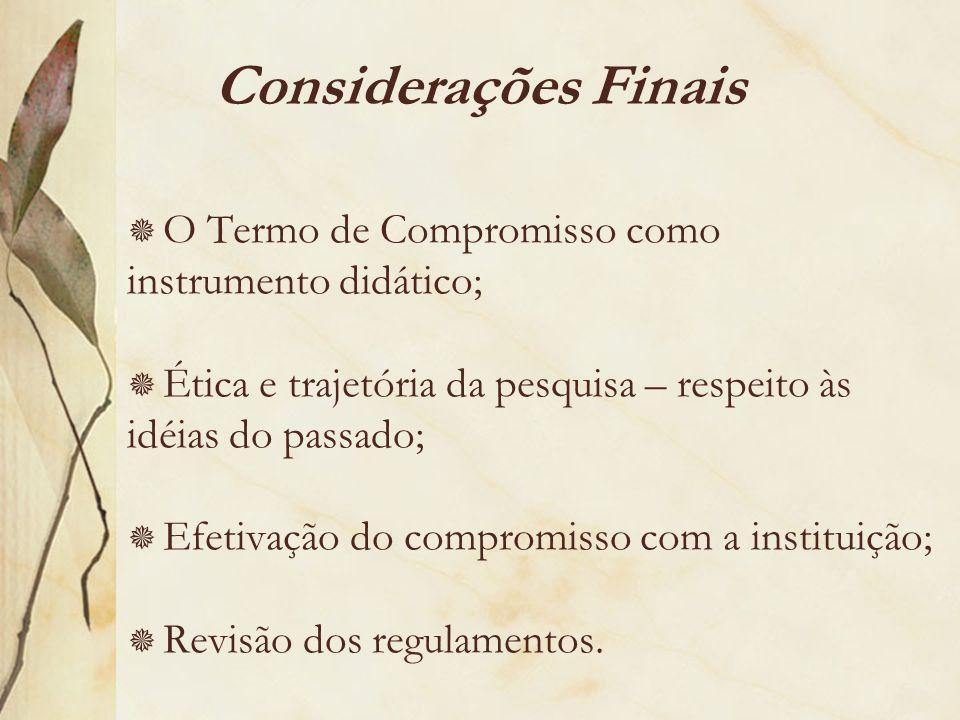 Considerações Finais O Termo de Compromisso como instrumento didático;