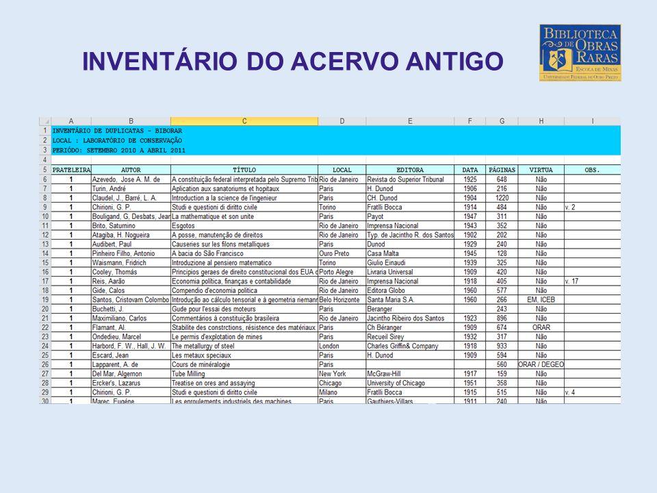 INVENTÁRIO DO ACERVO ANTIGO