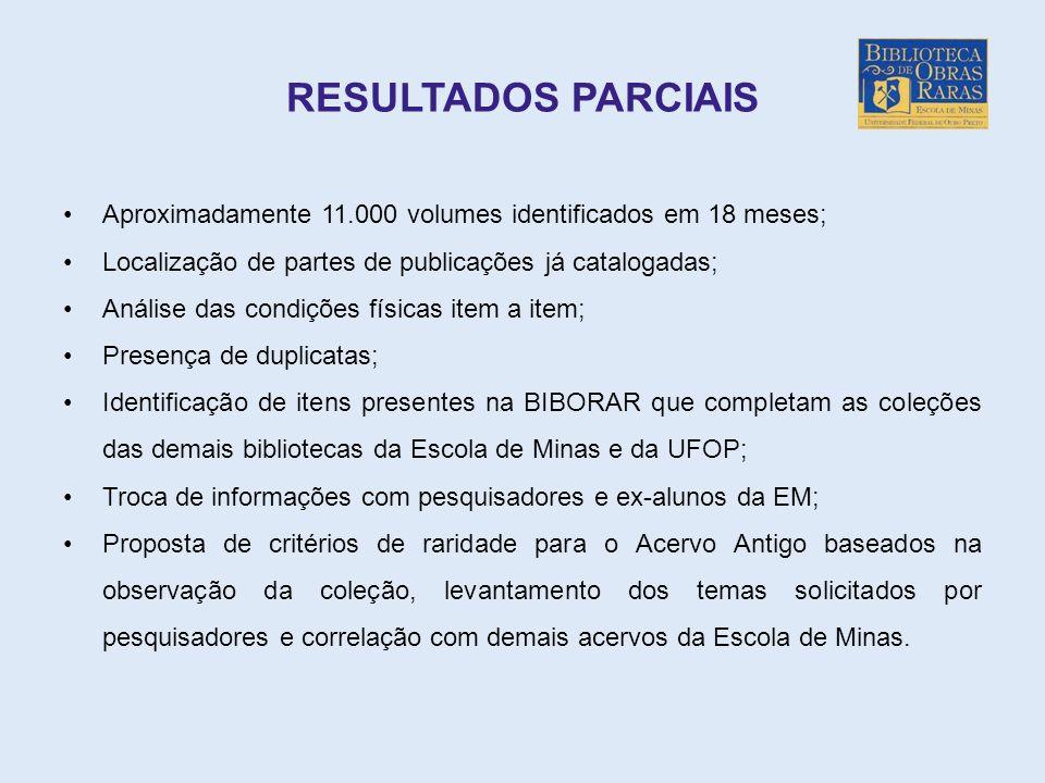 RESULTADOS PARCIAIS Aproximadamente 11.000 volumes identificados em 18 meses; Localização de partes de publicações já catalogadas;
