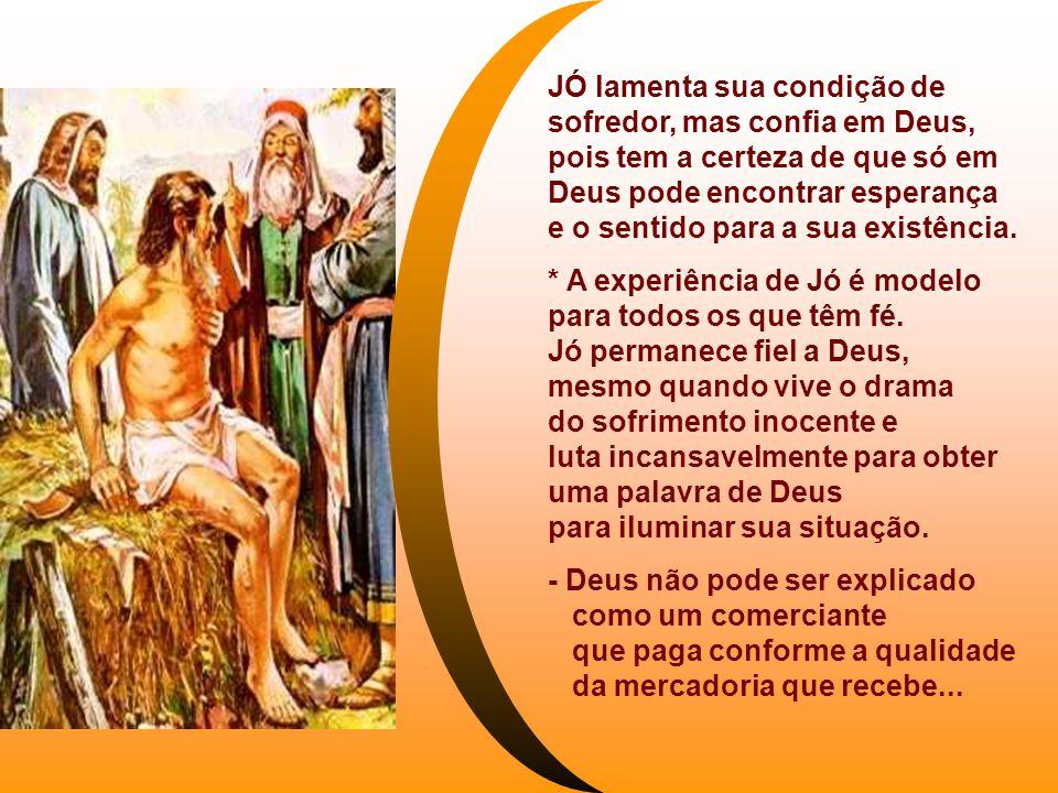JÓ lamenta sua condição de sofredor, mas confia em Deus,
