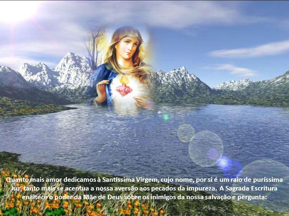 Quanto mais amor dedicamos à Santíssima Virgem, cujo nome, por si é um raio de puríssima luz, tanto mais se acentua a nossa aversão aos pecados da impureza. A Sagrada Escritura enaltece o poder da Mãe de Deus sobre os inimigos da nossa salvação e pergunta: