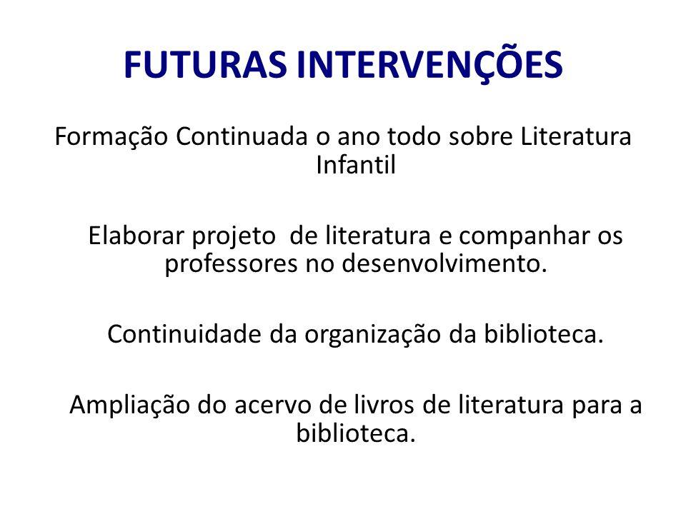 FUTURAS INTERVENÇÕES Formação Continuada o ano todo sobre Literatura Infantil.