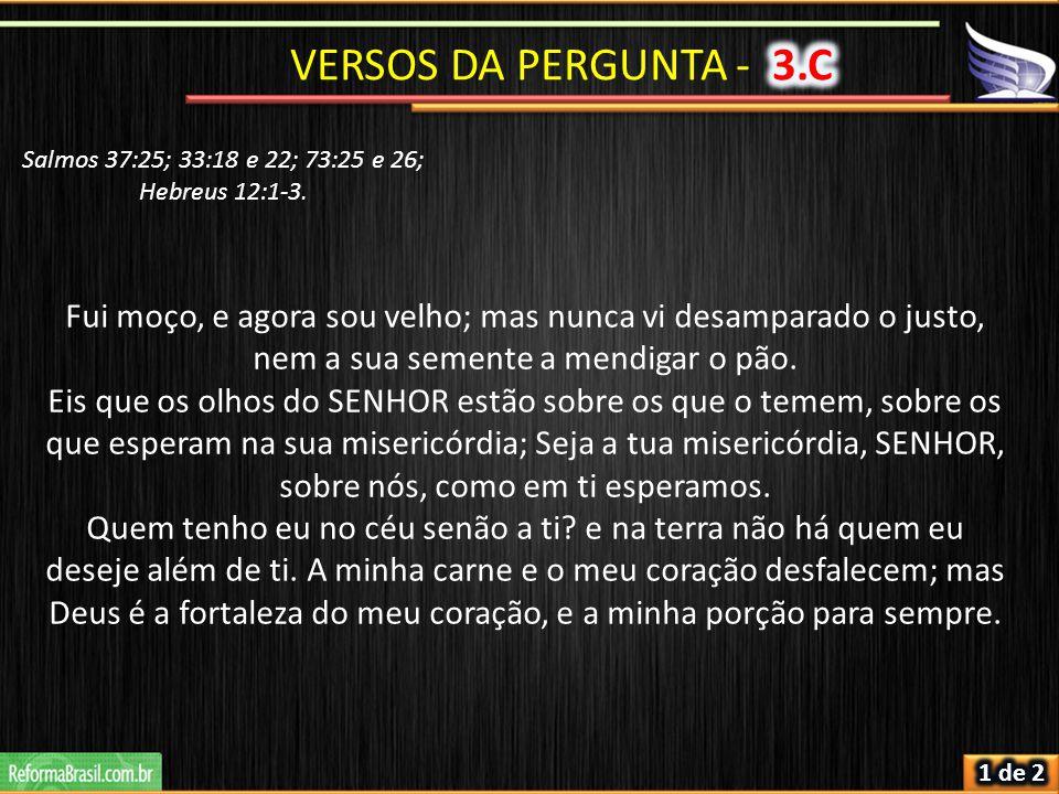 Salmos 37:25; 33:18 e 22; 73:25 e 26; Hebreus 12:1-3.