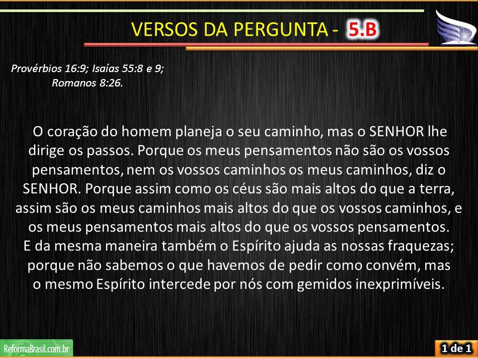 VERSOS DA PERGUNTA - 5.B Provérbios 16:9; Isaías 55:8 e 9; Romanos 8:26.