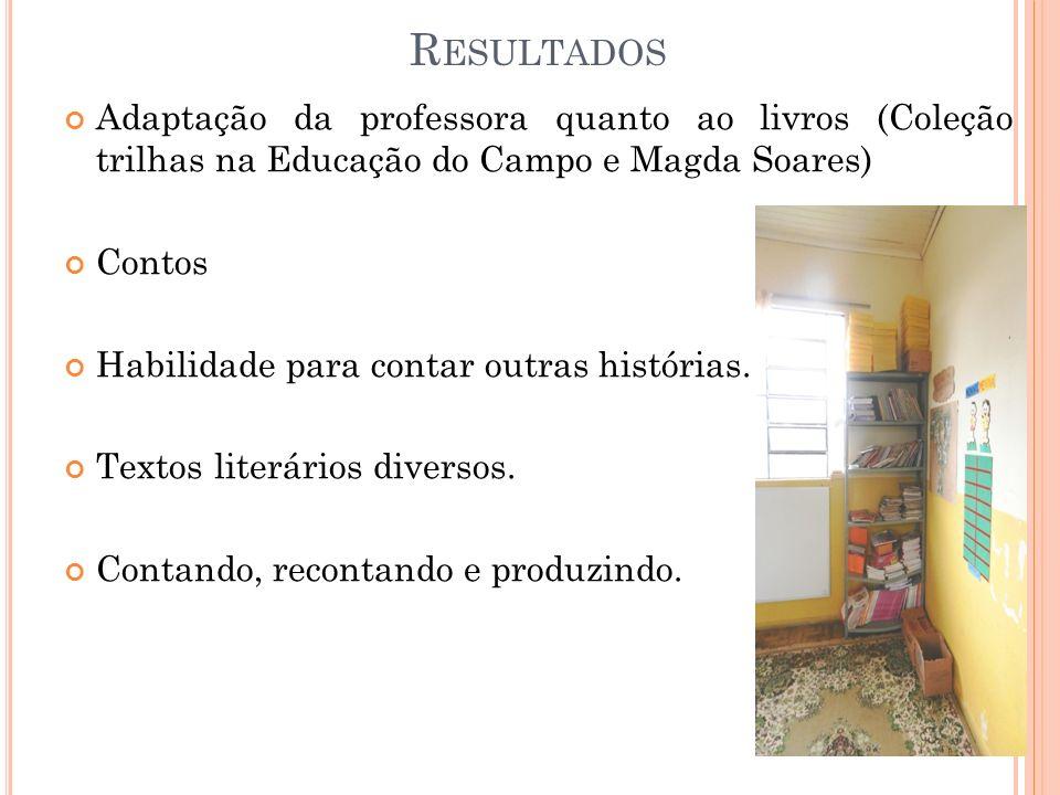 Resultados Adaptação da professora quanto ao livros (Coleção trilhas na Educação do Campo e Magda Soares)