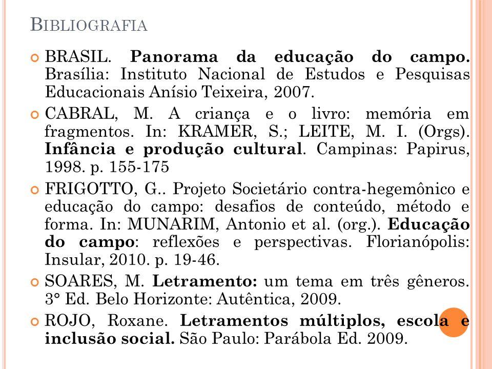 Bibliografia BRASIL. Panorama da educação do campo. Brasília: Instituto Nacional de Estudos e Pesquisas Educacionais Anísio Teixeira, 2007.