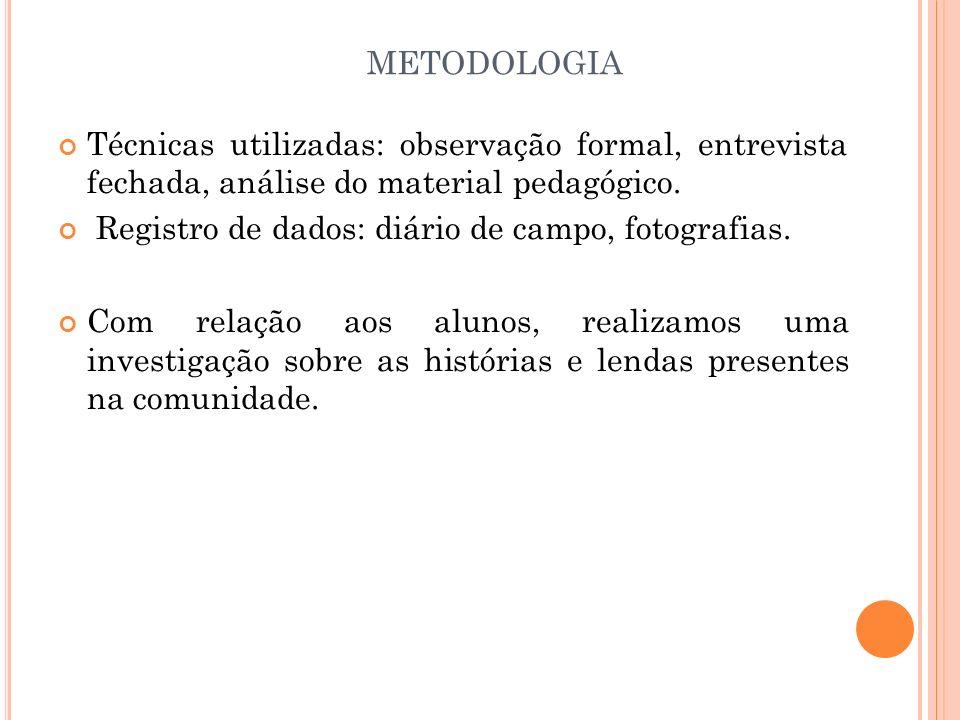 metodologia Técnicas utilizadas: observação formal, entrevista fechada, análise do material pedagógico.