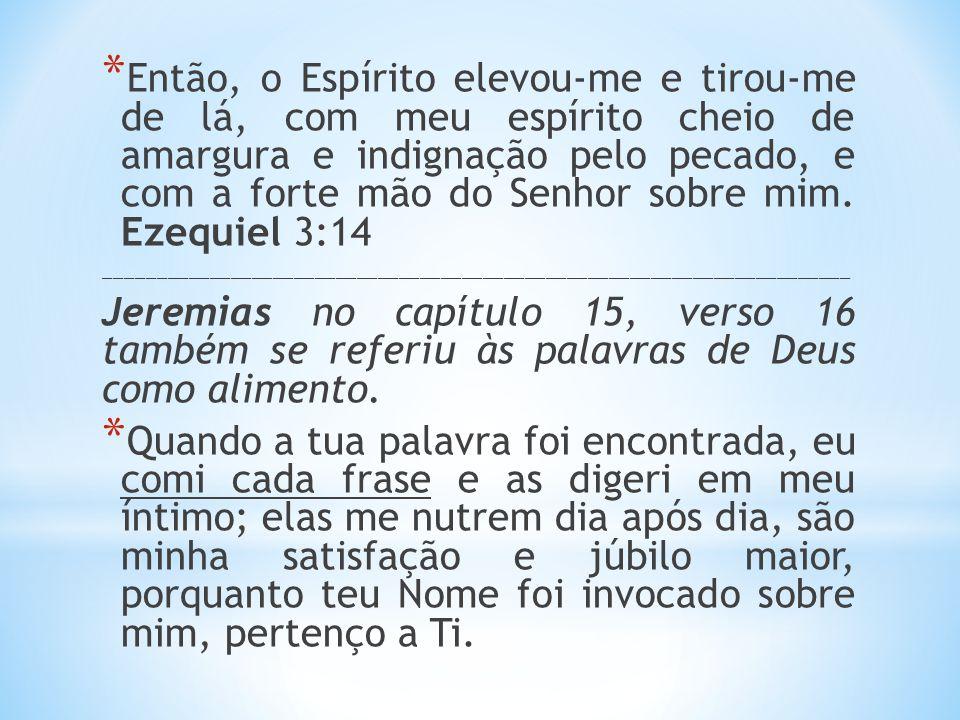 Então, o Espírito elevou-me e tirou-me de lá, com meu espírito cheio de amargura e indignação pelo pecado, e com a forte mão do Senhor sobre mim. Ezequiel 3:14
