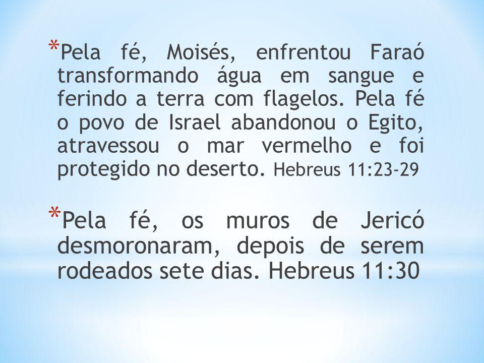Pela fé, Moisés, enfrentou Faraó transformando água em sangue e ferindo a terra com flagelos. Pela fé o povo de Israel abandonou o Egito, atravessou o mar vermelho e foi protegido no deserto. Hebreus 11:23-29