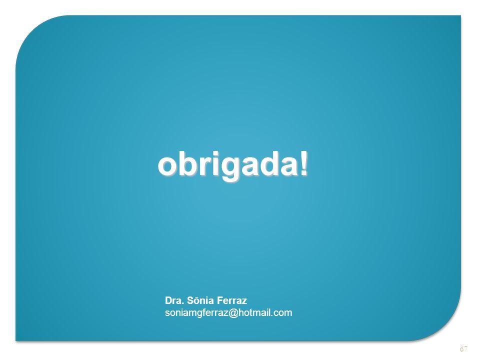obrigada! Dra. Sônia Ferraz soniamgferraz@hotmail.com