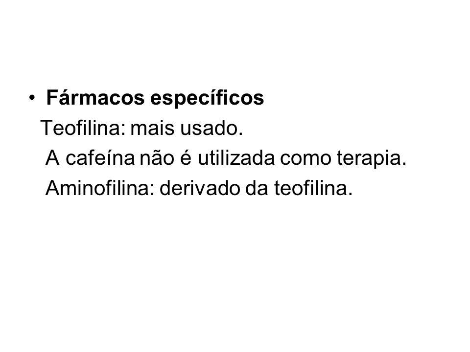 Fármacos específicos Teofilina: mais usado. A cafeína não é utilizada como terapia.