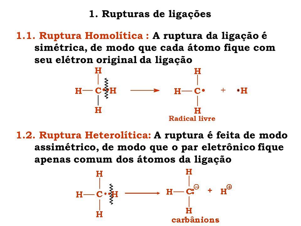 1. Rupturas de ligações 1.1. Ruptura Homolítica : A ruptura da ligação é simétrica, de modo que cada átomo fique com seu elétron original da ligação.
