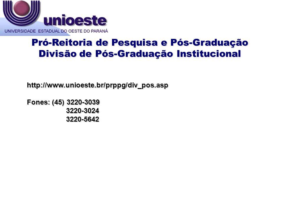 Pró-Reitoria de Pesquisa e Pós-Graduação
