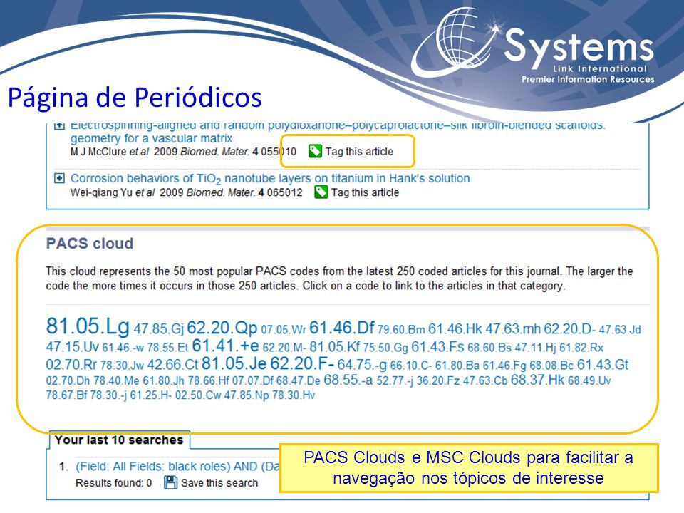 Página de Periódicos PACS Clouds e MSC Clouds para facilitar a navegação nos tópicos de interesse