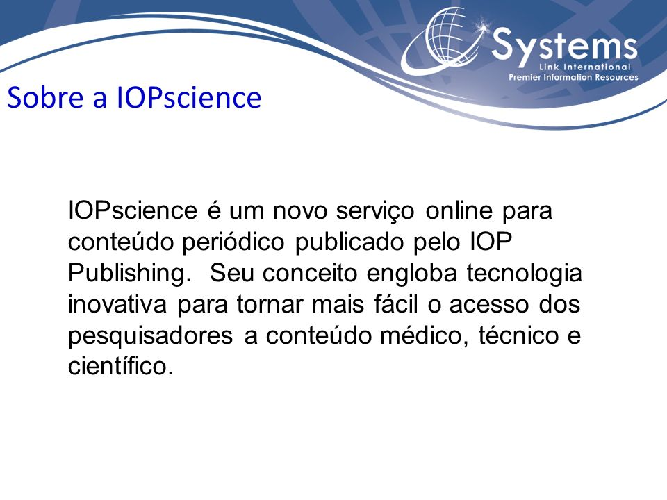 Sobre a IOPscience