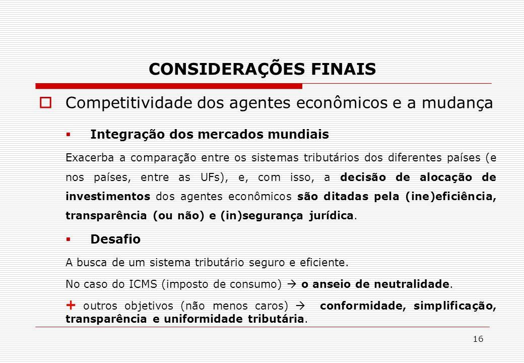 CONSIDERAÇÕES FINAIS Competitividade dos agentes econômicos e a mudança. Integração dos mercados mundiais.