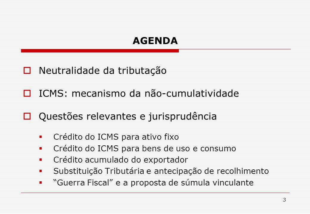 Neutralidade da tributação ICMS: mecanismo da não-cumulatividade
