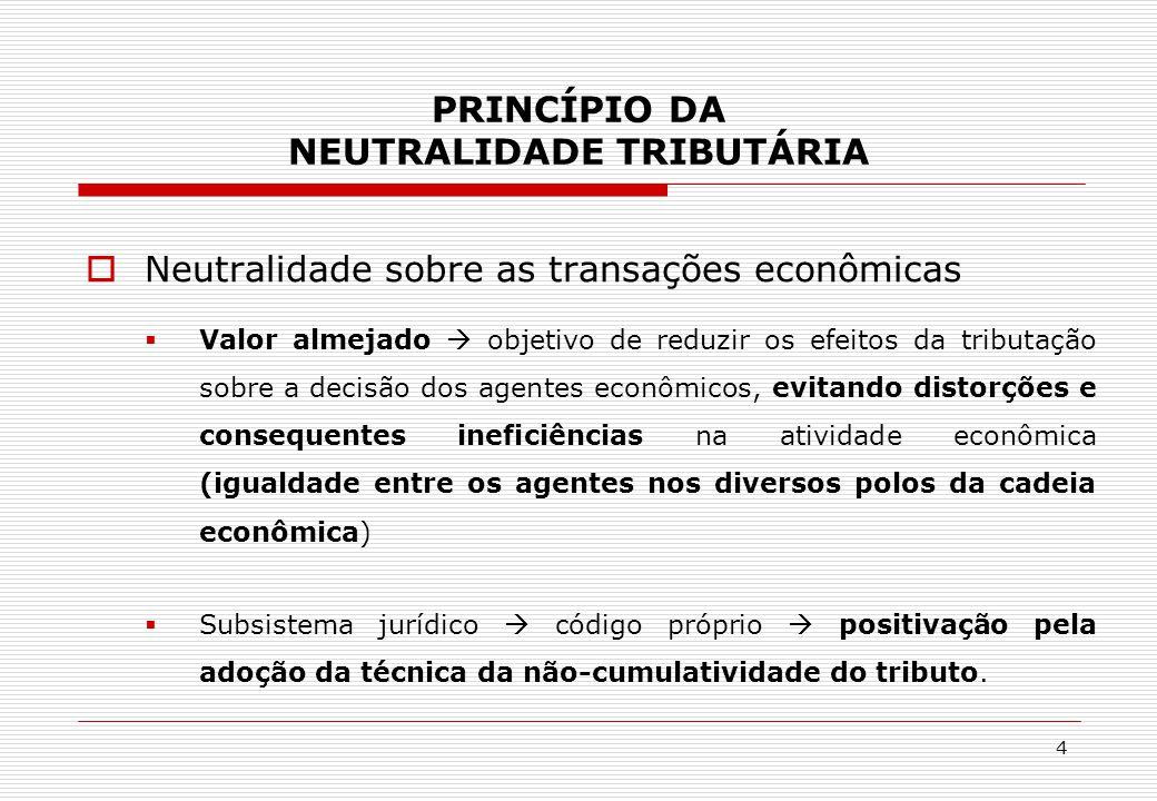 PRINCÍPIO DA NEUTRALIDADE TRIBUTÁRIA