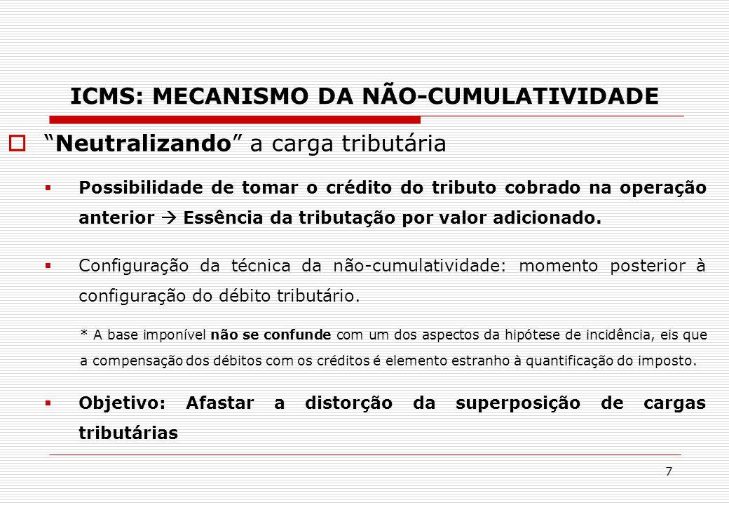 ICMS: mecanismo da não-cumulatividade