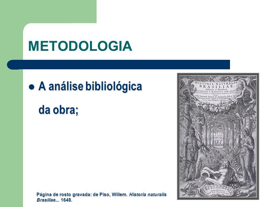 METODOLOGIA A análise bibliológica da obra;