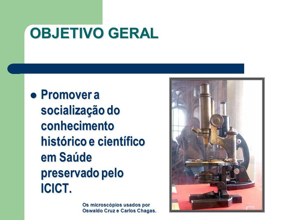 OBJETIVO GERAL Promover a socialização do conhecimento histórico e científico em Saúde preservado pelo ICICT.