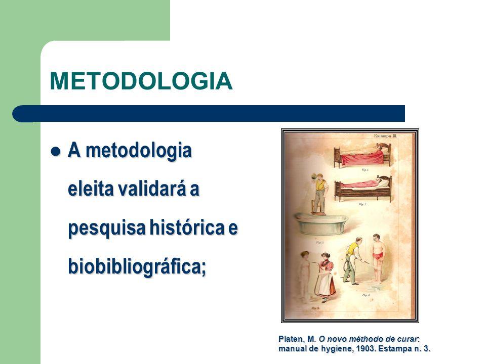METODOLOGIA A metodologia eleita validará a pesquisa histórica e biobibliográfica;