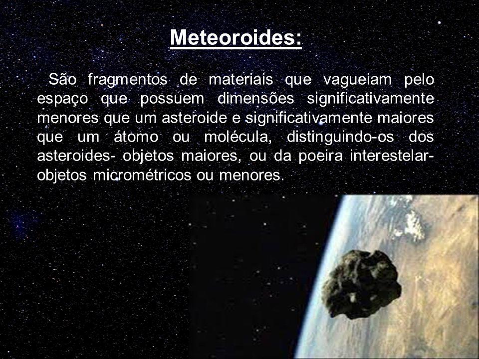 Meteoroides: São fragmentos de materiais que vagueiam pelo espaço que possuem dimensões significativamente menores que um asteroide e significativamente maiores que um átomo ou molécula, distinguindo-os dos asteroides- objetos maiores, ou da poeira interestelar- objetos micrométricos ou menores.