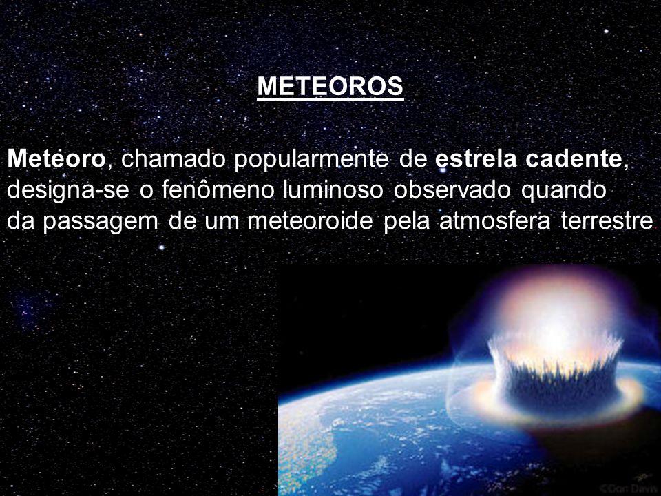 METEOROS Meteoro, chamado popularmente de estrela cadente, designa-se o fenômeno luminoso observado quando.
