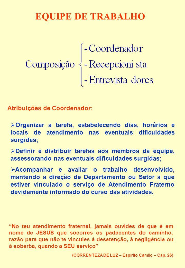 EQUIPE DE TRABALHO Atribuições de Coordenador: