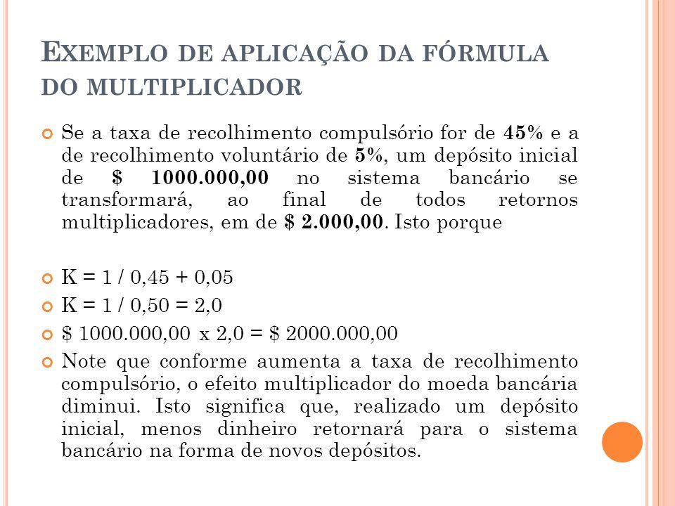 Exemplo de aplicação da fórmula do multiplicador