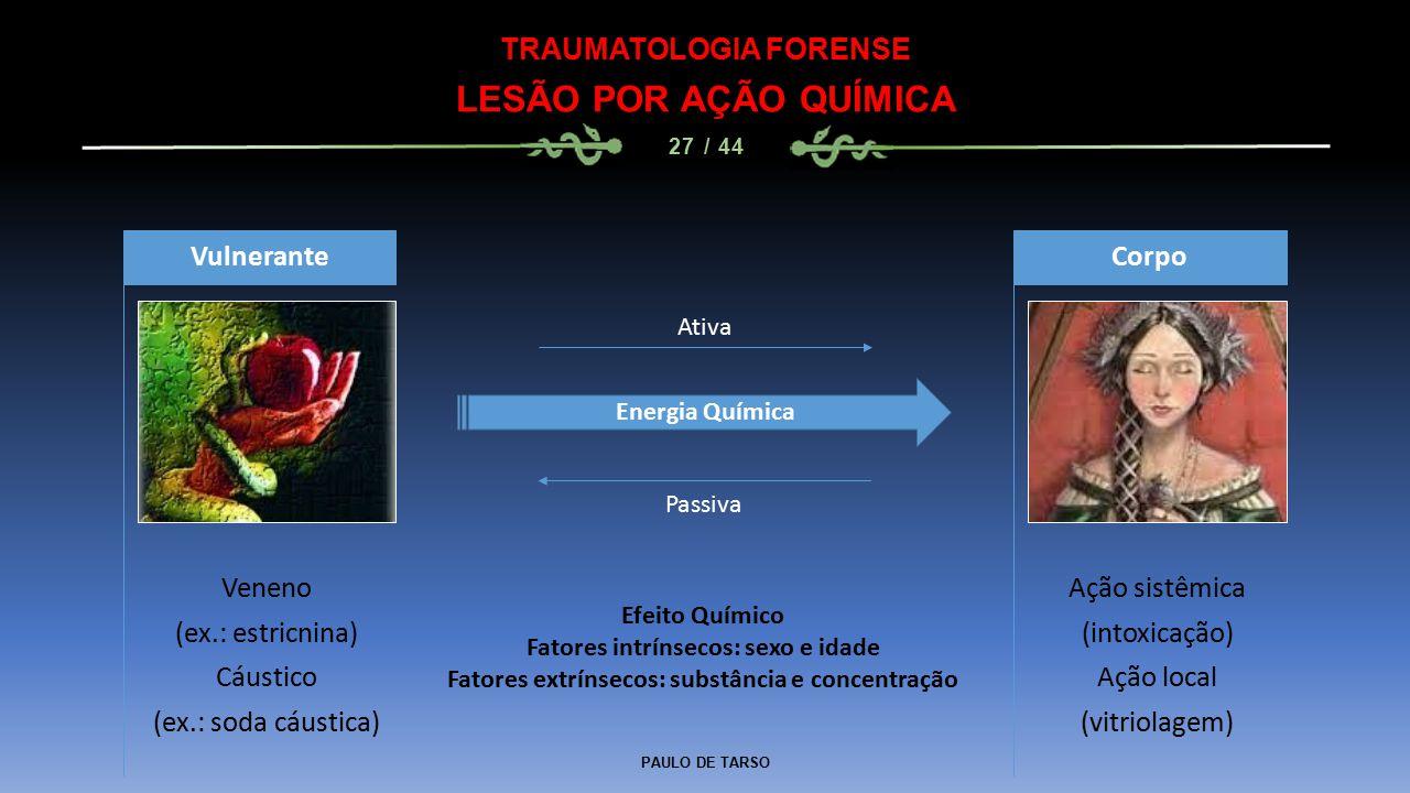 LESÃO POR AÇÃO QUÍMICA TRAUMATOLOGIA FORENSE Vulnerante Veneno