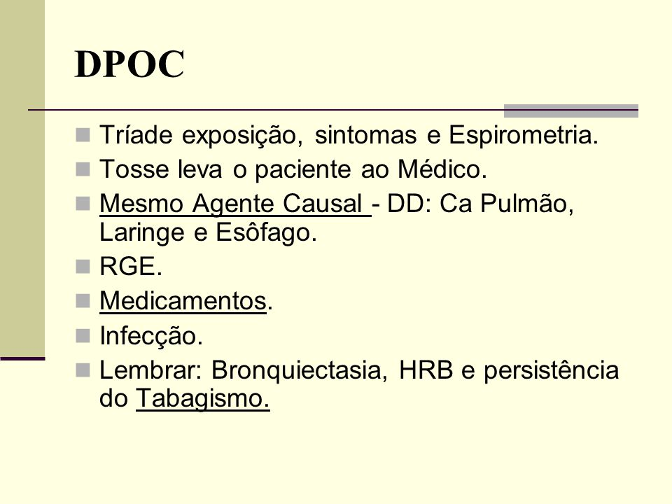 DPOC Tríade exposição, sintomas e Espirometria.